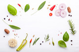 Various fresh herbs for cooking ingrediens peppermint , sweet basil ,rosemary,oregano, sage and lemon thyme on white wooden background with flat lay and copy space. - 199401939
