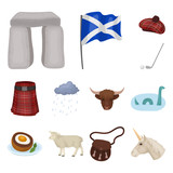 Country Scotland cartoon icons in set collection for design. Sightseeing, culture and tradition vector symbol stock web illustration.