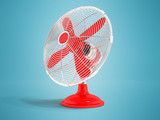 Modern propeller in a metal dome with a red propeller desktop 3d render on a blue background with a shadow - 199402787