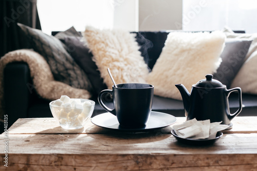 Foto Murales Winter tea in warm home