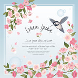 Vector illustration of a beautiful floral frame with cherry blossom in spring for Wedding, anniversary, birthday and party. Design for banner, poster, card, invitation and scrapbook