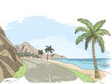 Sea coast road graphic color landscape sketch illustration vector - 199405723