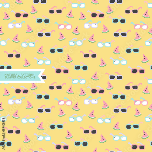 Summer Seamless Pattern,Sunglasses Background