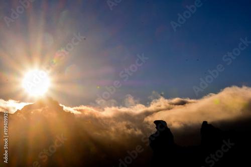 Deurstickers Canarische Eilanden Mountain at sunset