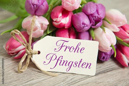 Foto Murales Tulpen und Karte: Frohe Pfingsten