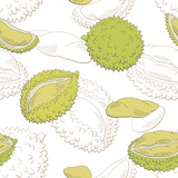 Durian fruit graphic color seamless pattern background sketch illustration vector - 199411785