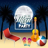 full moon party summer guitar beach ball sandals deck chair night scene vector illustration