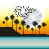 full moon party summer palms yellow skyline vector illustration