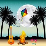 full moon party summer fire guitar kite night scene vector illustration