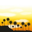 full moon party summer yellow scene palms clouds sunset vector illustration