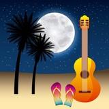 full moon party summer stars moonlight guitar sandals two palms vector illustration