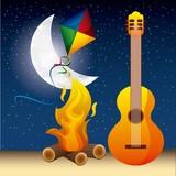 full moon party summer guitar fire night kite stars vector illustration