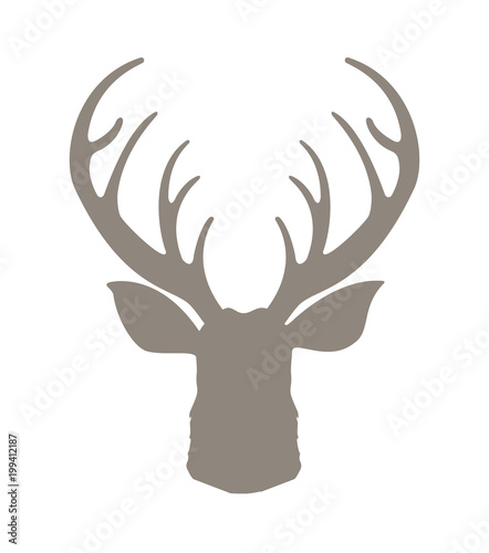Aluminium Hipster Hert Head deer silhouetted. Reindeer with horns vector illustration. Deer hipster icon. Hand drawn stylized element design