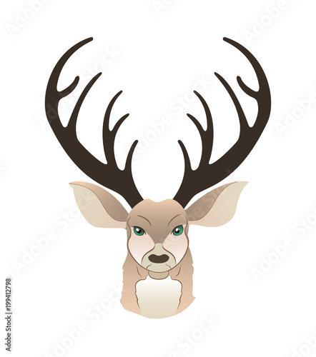 Plexiglas Hipster Hert Fashion portrait of hipster deer. Reindeer dressed up in coat, furry art character, trand animals, anthropomorphism. Vector illustration for t-shirt print, card, poster, banner