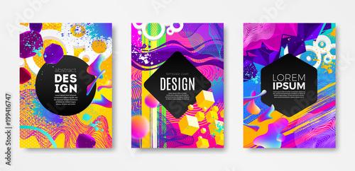 Zestaw projekt okładki z abstrakcyjnych wielokolorowe różnych kształtów. Szablon ilustracji wektorowych. Uniwersalny abstrakcyjny wzór na okładki, ulotki, banery, karty okolicznościowe, broszury i broszury.