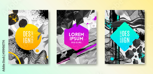 Sticker Set of cover design with abstract different shapes. Vector illustration template. Universal abstract design for covers, flyers, banners, greeting card, booklet and brochure.