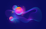 Planets with glow effect, stars and abstract waveform - vector illustration,