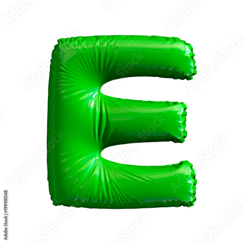 Green letter E made of inflatable balloon isolated on white background