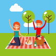 happy couple having picnic on tablecloth in the park vector illustration
