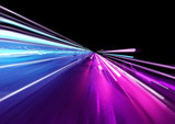 Super fast trailing lights in bright neon colours. 3D Illustration - 199421713