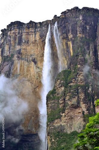 world's highest uninterrupted waterfall , Angel Falls  with a height of 979 m - 199430965