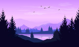 Vector cartoon landscape with purple silhouettes of trees, mountains and lake - 199434116