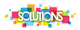 SOLUTIONS colourful letters icon