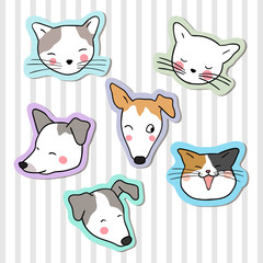 Hand draw vector collection sticker head of cute dog and cat on pastel color Doodle cartoon style