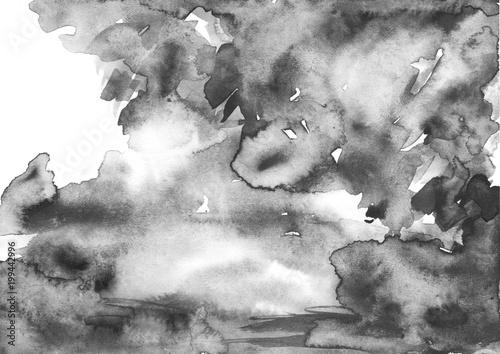 Fototapeta samoprzylepna Watercolor abstract background, postcard, card, pattern, spot, splash of paint, blot, divorce, color. Vintage pattern for different design and decoration. black and white paint color.