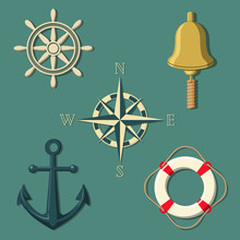 Ship's Wheel Bell Compass Anchor Lifebuoy In Colour Sticker