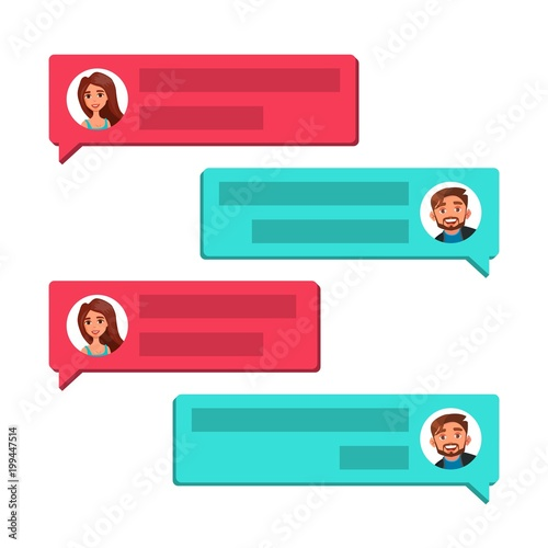 Chatting Vector. Communication Screen. Dialog Symbol. Bubble Speeches Messages. Isolated Flat Cartoon Illustration