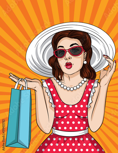 Fotobehang Pop Art Vector retro illustration of pop art comic style beautiful woman in sunglasses and big hat go shopping. A Vintage poster of a girl with ahopping bag