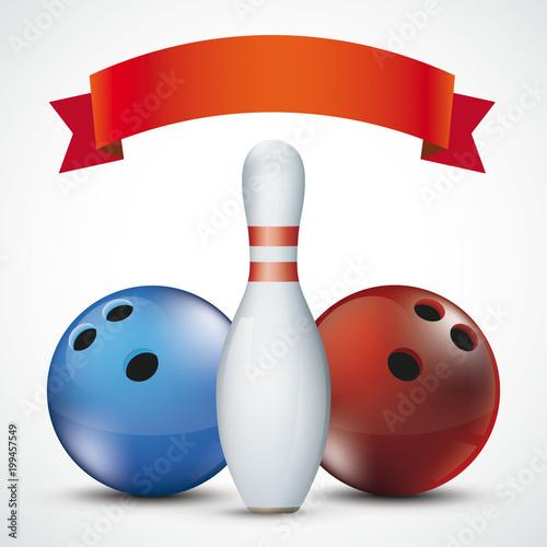 Fotobehang Bol Red Ribbon Bowling Pin Balls Red Blue