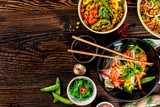 Asian food variation with many kinds of meals. Top view - 199458791