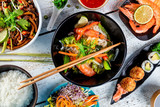 Asian food variation with many kinds of meals. Top view - 199458978