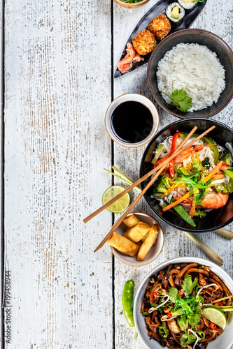 Asian food variation with many kinds of meals. Top view - 199458944