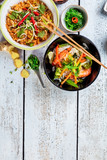 Asian chicken and prawns curry with rice and fresh vegetable - 199459108