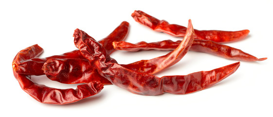 dried red chillies isolated on white
