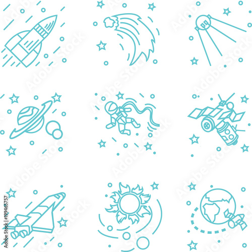 Fototapeta space icons / set of icons on a space theme in which there is a rocket, planet, astronaut, sun