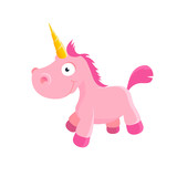 Cute pink unicorn toy illustration