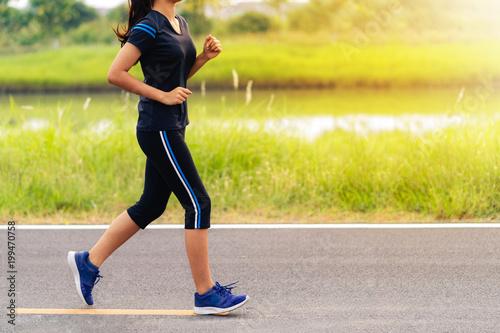 Aluminium Fitness Beautiful girl running on road, Healthy fitness woman training