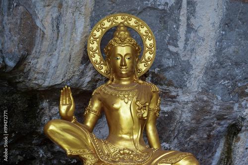 Fotobehang Boeddha Hello world