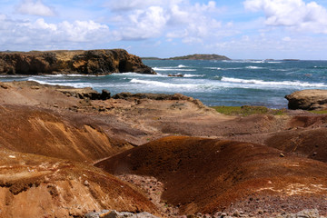 The coastal landscape of the petrified savannah in the south of Martinique