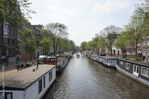Fotobehang Amsterdam Canal de Ámsterdam