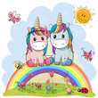 Two Cartoon Unicorns are sitting on the rainbow - 199483963