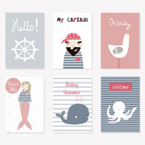 Set of cute nautical cards for baby shower or other. Vector hand drawn illustration.
