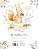 Cute watercolor bohemian baby squirrel animal poster for nursary, alphabet woodland isolated forest illustration for children. Baby shower animals invitation - 199501706