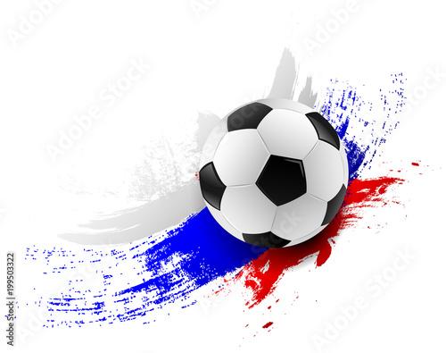 Fotobehang Bol Fußball mit Russland Farben Pinsel Striche