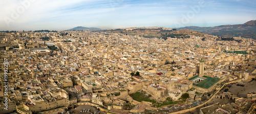 Foto op Plexiglas Marokko Aerial panorama of Medina in Fes, Morocco