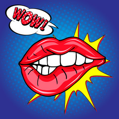Sweet sexy pop art Pair of Glossy Vector Lips. Open Sexy wet red lips with teeth pop art set blue backgrounds, vector illustration, pattern, wow lettering